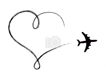 Illustration for Heart shaped icon in air, made by plane - Royalty Free Image