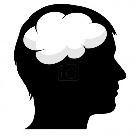 Illustration for Male silhouette with brain - Royalty Free Image