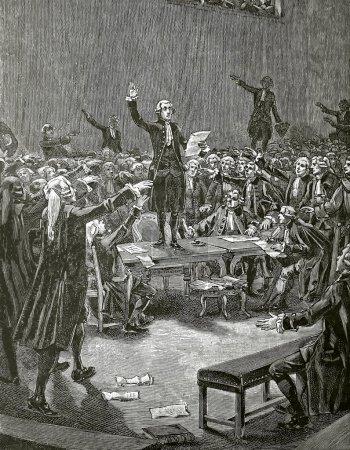 """Photo pour """"Serment du Jeu de Paume"""", Kupferstich von Faizan und navellier von 1890. französische revolution - image libre de droit"""