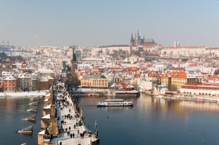 Charles Bridge and Prague Castle at winter