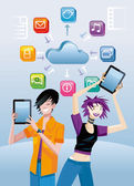 A teenage girl and a teenage boy very happy show a digital tablet each one Over them a cloud with icons of different applications