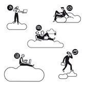Five young businessmen silhouettes working in cloud computing for the new economy Black and white illustrations with very schematics characters almost icons Atti