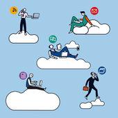 Cloud Computing Men Silhouettes color