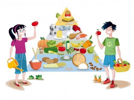 Illustration pour Pyramide des aliments sains du guide alimentaire divisée en sections pour indiquer l'apport recommandé pour chaque groupe alimentaire. Devant la pyramide un garçon et une fille souriant avec - image libre de droit