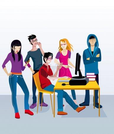 Illustration pour Un groupe de jeunes adolescents (garçons et filles) autour d'une table avec un ordinateur faisant de la classe de travail . - image libre de droit
