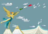 Angel of Mexican independence on some books that simulate mountains and Popocatepetl volcano