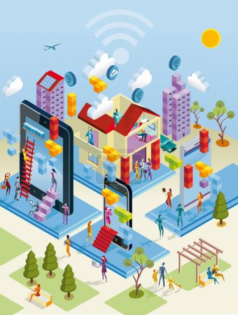 Illustration for A city internet network with wireless and giants computing devices (as computer, digital tablet, mobile phone) in isometric view. - Royalty Free Image