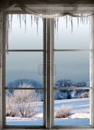 winter landscape through window