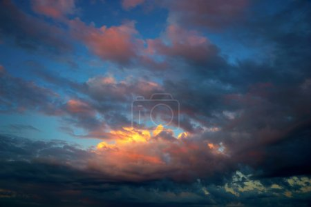 dramatic orange and blue sky