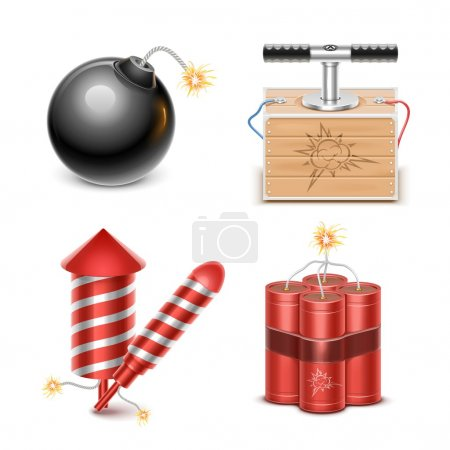 pyrotechnic vector icon set