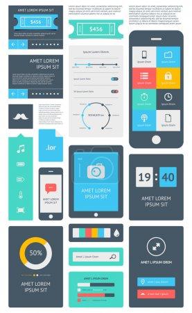Foto de Interfaz de usuario es un conjunto de componentes hermosos con la tendencia de diseño plano - Imagen libre de derechos