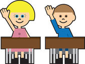 Boy and girl in school raising their hand