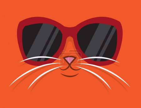 Illustration for Cartoon cat head with sunglasses - Royalty Free Image