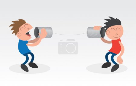 Illustration for Two using cans on a string to communicate - Royalty Free Image