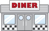 Isolated diner restaurant with large sign