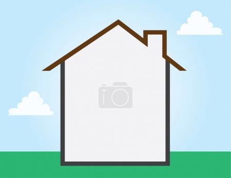 Illustration pour Contour de la maison espace vide partout - image libre de droit