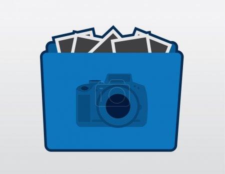Ilustración de Icono de carpeta azul cámara con fotos - Imagen libre de derechos