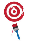 Paint brush painting a large red target