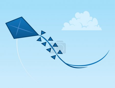 Illustration for Blue kite flying through the open sky - Royalty Free Image