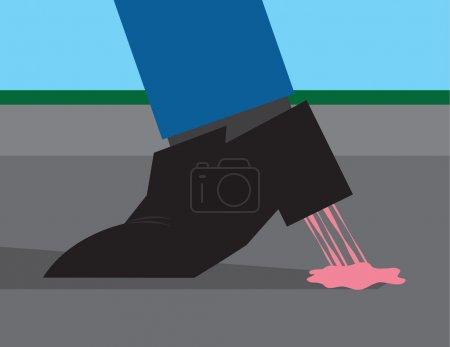 Gum Stuck to Shoe