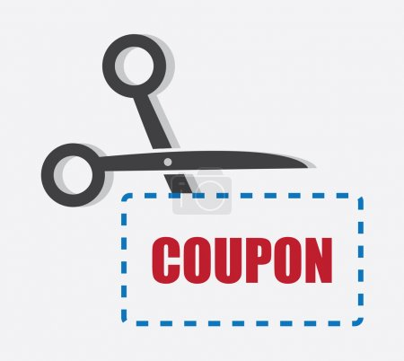 Scissors cutting through coupon dotted line...