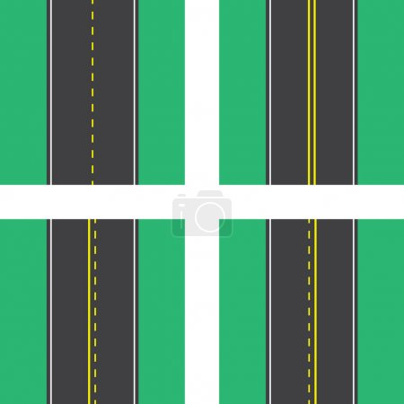 Roads with double and dotted lines top view...