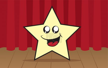 Illustration for Star cartoon character on stage in front of curtain - Royalty Free Image