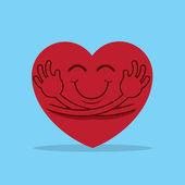 Large cartoon heart hugging itself