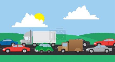 Illustration pour Voitures et camions dans la circulation sur une route - image libre de droit