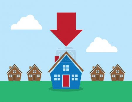 Illustration for Row of houses with large red arrow pointing at one - Royalty Free Image