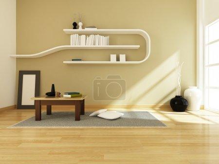 Foto de Render 3D del diseño interior habitación moderna - Imagen libre de derechos
