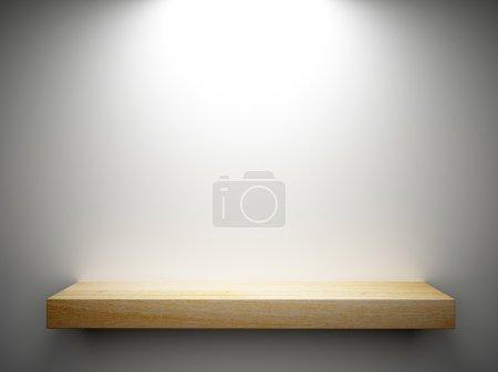 wood shelf on white wall decorated