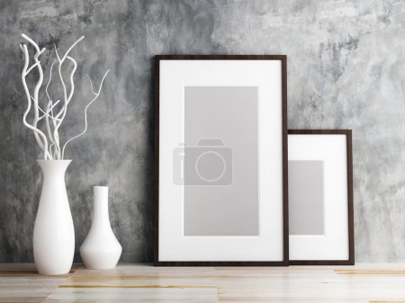 picture frame and vase on wood floor decorate