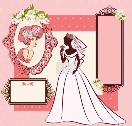 Vintage silhouette of beautiful bride in dress