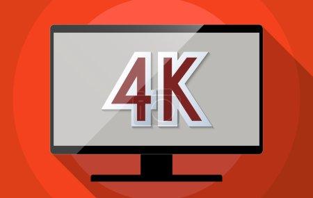 Photo pour Concept pour la télévision ultra haute définition (UHDTV), la résolution 4K et la révolution high tech. Illustration design plat . - image libre de droit