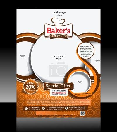 Illustration pour Boulangerie Flyer Design Illustration vectorielle - image libre de droit