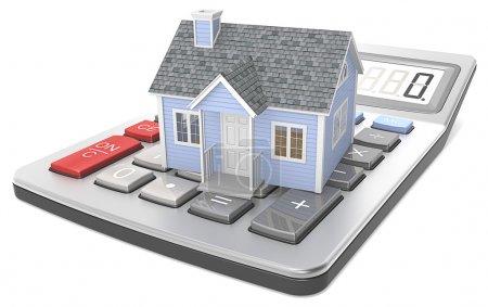 Photo pour Petite maison bleue sur une calculatrice. - image libre de droit