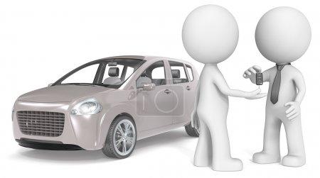 Photo pour Le mec l'achat d'une voiture. aucune voiture de marque, gris chaud. - image libre de droit