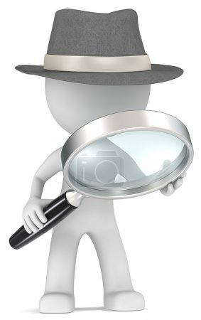 Photo for Dude the detective with magnifying glass. Film Noir style. - Royalty Free Image
