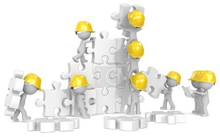 Photo pour Mec x 9 les constructeurs au chantier de construction puzzle. - image libre de droit