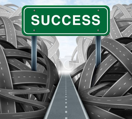 Photo for Clear strategy and financial planning road with a green highway sign and the word success as a business concept of winning solutions cutting through adversity throug - Royalty Free Image