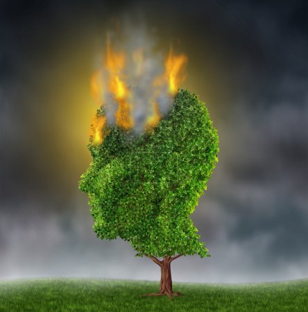 Photo for Emotional stress and suffering with a tree in the shape of a human head burning in flames on a night sky as a medical brain concept representing the extreme anguish - Royalty Free Image