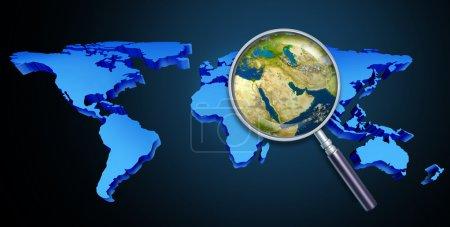 Photo pour Planète Terre Moyen-Orient crise avec des questions politiques du golfe Persique et du pétrole brut avec des pays comme l'iran Israël Egypte Libye Koweït Syrie Arabie saoudite focuse - image libre de droit