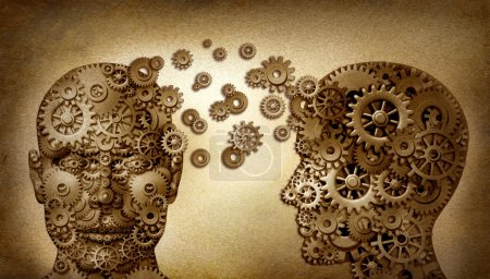 Photo for Education and leadership teamwork and lead and learning symbol by two human heads frontal and side view shaped with gears on a grunge old vintage document as an idea - Royalty Free Image
