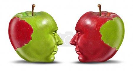 Photo pour Les partenaires égaux et le concept de relation d'affaires avec une pomme verte et rouge en forme de tête humaine avec une morsure transplantée d'un partenaire à l'autre en tant que s - image libre de droit