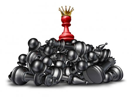 Photo for The winner and the victor success concept with a red chess pawn wearing a gold crown on top of a mountain of defeated competitors that are lying down against a white - Royalty Free Image