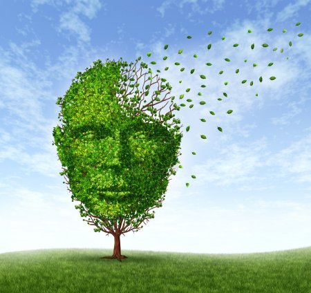 Photo for Human dementia problems as memory loss due to age and Alzheimer's disease with the medical icon of a tree in the shape of a front face human head and brain losing le - Royalty Free Image