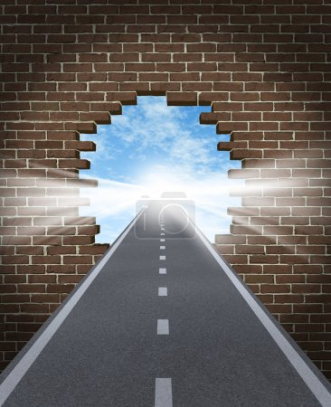 Photo for Break through to opportunity concept with a highway going through a broken brick wall to a shinning light of success on a sky background as a business icon and a sym - Royalty Free Image