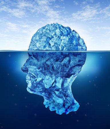 Photo for Human brain risks with an iceberg in the shape of a head partialy submerged in the cold arctic ocean as a health care medical symbol for hidden neurological and psyc - Royalty Free Image