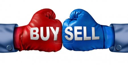 Photo for Buy or sell stocks or shares in a business as a boxing match in the symbolic financial ring of investing with two gloves fighting for trading direction in the stock market isolated on a white background. - Royalty Free Image